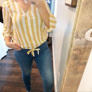 Lulu's Olive + Oak mustard stripe tie front blouse
